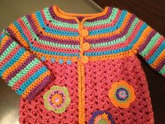 Crochet Cardigan -  http://www.mundocrochet.com/little-girl-crochet-cardigan-free-pattern-tutorial/  for the pattern but prefer these colors.