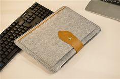 Yellow Leather Flap Felt Macbook 15 Sleeve  by JYcustomworkshop