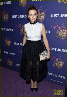 Holland Roden in an alice + olivia outfit.