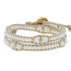White Mix Crystal Double Wrap Bracelet on Petal Leather - Chan Luu