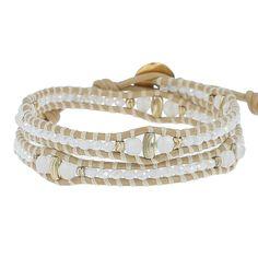White Mix Crystal Double Wrap Bracelet on Petal Leather - Chan Luu