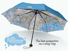 The perfect city umbrella: The map on the inside guides you through London, Paris or New York, keeping you happy & dry. Start exploring
