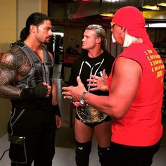 """Hulk Hogan gives @heelziggler and Roman Reigns a pep talk before their match…"