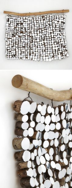 lee borthwick - mirrored found wood, wall hanging Could be interesting as garden art in a dark corner on the fence? THIS COULD BE A COOL HEADBOARD> - Diy Interior Design Diy Wall Art, Diy Wall Decor, Diy Home Decor, Wall Decorations, Diy Décoration, Diy Crafts, Homemade Crafts, Wooden Crafts, Mur Diy