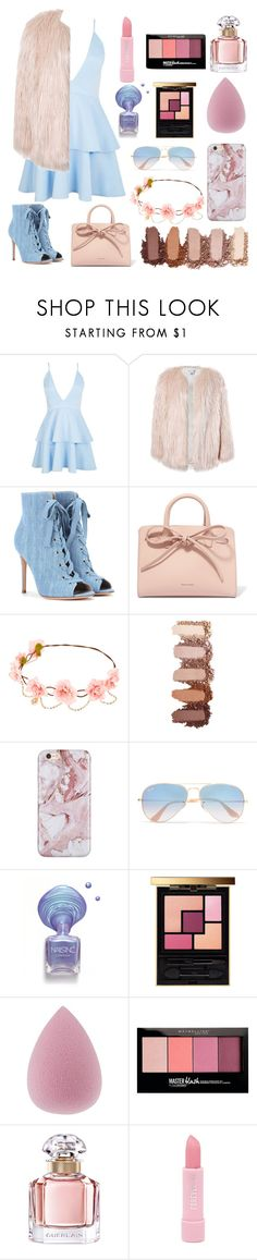 """""""Pink and blue"""" by typicallylena ❤ liked on Polyvore featuring Boohoo, Sans Souci, Gianvito Rossi, Mansur Gavriel, Ray-Ban, Yves Saint Laurent, Maybelline, Guerlain and Forever 21"""