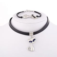 Summer Fashion Leather Chain Color-changing Cat Pendants Jewelry Sets 2pc/lot Necklace & Bracelet 2pc set For Women