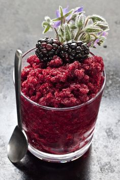Blackberry and ginger granita