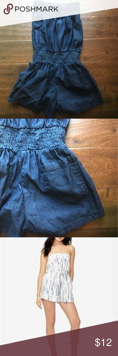 🎉 Denim Strapless Romper Size Medium 🎉 Adorable lightweight denim strapless romper. Cute back pockets. Photo of model is simply to show how this romper style fits. Size medium Juniors. Cover photo posted simply to show the style. The listed item is a lightweight denim-like fabric. Adorable with tall wedges 😇❤️ Gold Drama Shorts