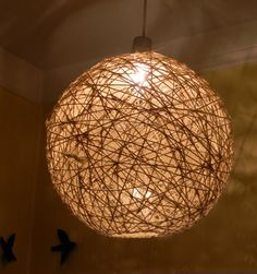 DIY entry way fixtures? twine light fixtures cast beautiful lighting effects on walls & ceiling Orb Light, Diy Pendant Light, Diy Light Shade, Pendant Lights, Pendant Lamp, Diy Hanging, Hanging Lights, Solar Lights, Diy Light Fixtures