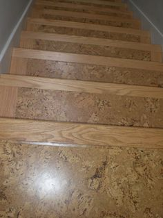 cork on stairs with wooden stair nose pieces