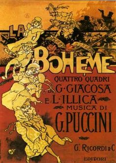 Poster for the 1896 world premiere of Puccini's opera La bohème, which was designed by Adolfo Hohenstein.