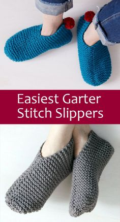 Free Knitting Pattern for Easiest Garter Stitch Slippers - Easy-to-knit weekend . Free Knitting Pattern for Easiest Garter Stitch Slippers - Easy-to-knit weekend project requires knitting just one recta. Knitting Socks, Knitting Stitches, Free Knitting, Crochet Socks, Beginner Knitting Patterns, Easy Knitting Projects, Diy Knitting For Beginners, Knit Slippers Free Pattern, Knitted Slippers