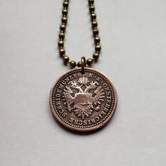 antique 1851 Austria 1 Kreuzer coin pendant charm necklace jewelry double-headed eagle birds Austrian Österreich oak leaves wreath No.000998 by acnyCOINJEWELRY on Etsy