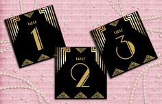 Check out our great gatsby table number selection for the very best in unique or custom, handmade pieces from our shops. Party Like Gatsby, Great Gatsby Wedding, Art Deco Wedding, 1920s Wedding, Wedding Ideas, Gatsby Theme, Wedding Shot, Wedding Dj, Art Deco Table