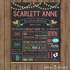 Glitter Carousel Chalkboard Birthday Stats by GoldenAnchorDesigns, $18.00