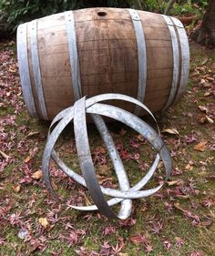 Items similar to Rustic Orb, Hanging DIY Chandelier, Sphere, Globe Made From Recycled Wine Barrel Metal Hoops - Large on Etsy Wine Barrel Rings, Wine Barrels, Garden Spheres, Barrel Projects, Wine Barrel Furniture, Irish Decor, Home Bar Decor, Pinterest Garden, Automotive Decor