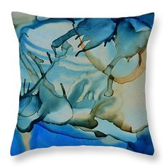 "Tropical Blues in Pirates Cay 14"" x 14"" Throw Pillow by Tammy Finnegan.  Our throw pillows are made from 100% cotton fabric and add a stylish statement to any room.  Pillows are available in sizes from 14"" x 14"" up to 26"" x 26"".  Each pillow is printed on both sides (same image) and includes a concealed zipper and removable insert (if selected) for easy cleaning."