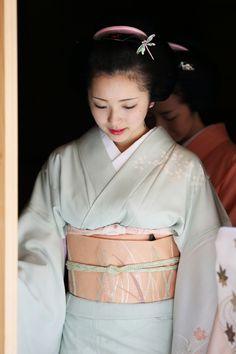 a woman in kimono@#kyoto #japan Love the subtle colors