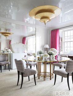 Gorgeous glass top table - designer Brian J. McCarthy | Elle Décor
