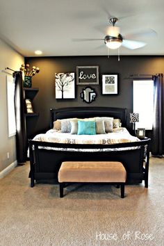 Love the dark accent wall couples with light walls. Maybe wouldn't do quite as dark so the headboard doesn't blend in.