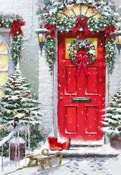Magical Christmas Door Decoration Ideas You Must Try 05 Christmas Scenes, Noel Christmas, Winter Christmas, Christmas Wreaths, Christmas Crafts, Christmas Decorations, Christmas Ornaments, Xmas, Magical Christmas