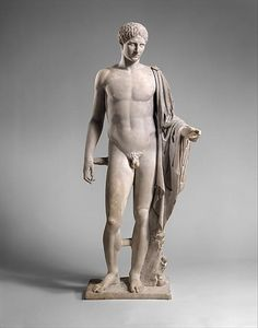 Marble statue of Hermes Copy of work attributed to Polykleitos The left hand, tip of nose, and tips of some fingers of the right hand are restored. Roman copy or adaptation of a Greek statue of the late 5th or early 4th century BCE.