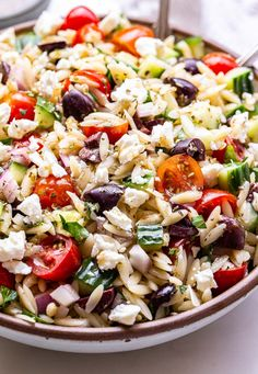 Greek Recipes, Raw Food Recipes, Veggie Recipes, Freezer Recipes, Dutch Recipes, Freezer Cooking, Easy Recipes, Orzo Salad Recipes, Pasta Salad