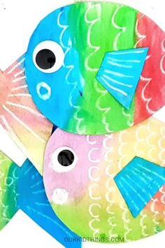 Crayon Resist Watercolor Fish-Crayon Resist Watercolor Fish Crayon Resist Watercolor Fish with Free Template - Fish Crafts Preschool, Toddler Crafts, Ocean Kids Crafts, Ocean Theme Crafts, Summer Crafts For Kids, Art For Kids, Painting Crafts For Kids, Summer Art Projects, Watercolor Fish
