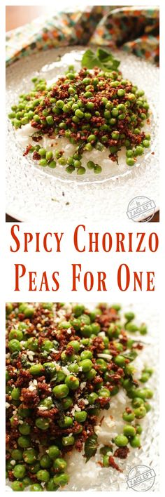 Spicy Chorizo Peas For One - peas seasoned with crumbled chorizo, onions, garlic and mint and served over rice. This recipe for one makes the perfect meal for anyone cooking for one. | zagleft.com