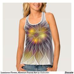 Luminous Flower, Abstract Fractal Art Tank Top