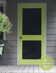 A great way to add some color to your front porch is by building a screen door and painting it a fun bright color. Learn how to build your very own DIY Screen Door.