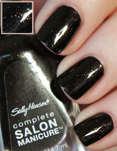 """My choice for first half of October:  Sally Hansen """"Midnight in NY"""" - almost black with tiny glitter sparkles (October 2014)"""