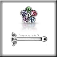 Nose Studs    Nose Studs   Nose Studs! Looking for something a bit different? Silver Jeweled Flower Pastel Petals .925 Sterling Nose Stud Studs Rings 20 Gauge. Only $3.99.