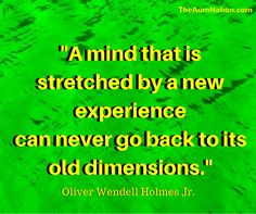 """""""A mind that is stretched by a new experience can never go back to its old dimensions."""" - Oliver Wendell Holmes Jr."""