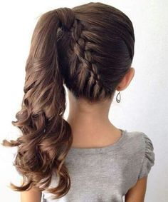 Lovely Kids Hairstyles: 15 Easy and Cute Hairstyles For Kids… www.wowhairstyles… The post Kids Hairstyles: 15 Easy and Cute Hairstyles For Kids… www. Little Girl Braid Hairstyles, Little Girl Braids, Braided Ponytail Hairstyles, Dance Hairstyles, Flower Girl Hairstyles, Girls Braids, Braid Ponytail, Children Hairstyles, Everyday Hairstyles