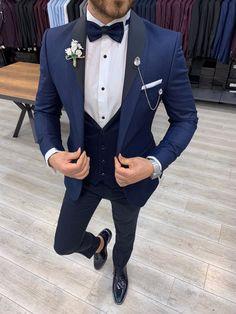 Mens Casual Suits, Dress Suits For Men, Stylish Mens Outfits, Mens Fashion Suits, Slim Fit Tuxedo, Slim Fit Suits, Engagement Suit For Man, Navy Blue Tuxedos, Best Designer Suits