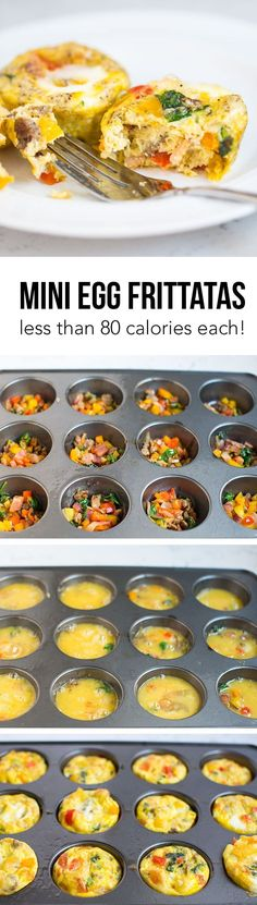 Muffin Mini Egg Frittatas - these egg muffins are full of protein and veggies, and less than 80 calories each. They are great for Fix or Paleo diets. So easy and delicious!Mini Egg Frittatas - these egg muffins are full of protein and vegg Whole 30 Breakfast, Healthy Breakfast Recipes, Healthy Snacks, Healthy Recipes, Breakfast Ideas, Breakfast Quiche, Diet Breakfast, Diet Snacks, Atkins Breakfast