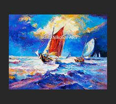 Red Boat-Seascape Painting Original Art Impressionistic Original Oil on Canvas by Ivailo Nikolov  - Title: Red boat  -Measures: 20x24inch  -Medium: