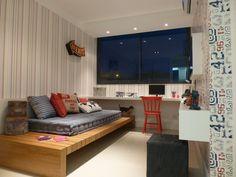 quarto de hóspedes e esritório Single Bedroom, Futons, Closet Bedroom, Home Bedroom, Bedroom Decor, Bedrooms, Room Interior, Interior Design, Teenage Room