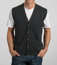 Men Fall Winter Woollen V-neck Grid Warm Pullover Waistcoat Vest ...