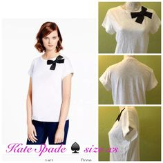 Summer sale 😎💥Kate Spade bow top 💥 new without tag. Super cute t shirt with stitched on bow, rolled sleeves. Never been worn, but there is yellow stain spot at the tip of bow, don't know how it gets there. ♠️No trade. kate spade Tops Tees - Short Sleeve