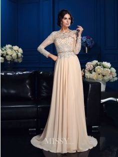 A-Line/Princess Scoop Long Sleeves Beading Sweep/Brush Train Chiffon Mother Of The Bride Dress