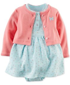 Carter's Baby Girls' 2-Piece Butterfly Cardigan & Dress Set