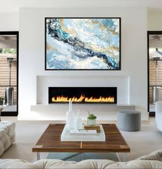 Your place to buy and sell all things handmade - Abstract painting 40 Original painting Gold-Silver Living Room Decor Fireplace, Fireplace Tv Wall, Linear Fireplace, Marble Fireplaces, Fireplace Remodel, Fireplace Surrounds, Living Room Paint, Modern Fireplaces, Fireplace Ideas