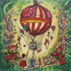Untitled 2- Whimsical Vintage Painting Fine Art Print, Hot Air Balloon, Little Girl, Cat, Birdcage, Angels, Roses, Fairytale, Fantasy, Green by yenpaintings on Etsy