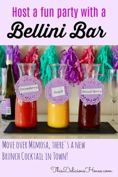 Try this easy to set up Bellini Bar and give your guests a happy alternative to orange juice and champagne. Fruit purees and Prosecco are where it's at for this Bellini Bar! #bellinibar #brunchcocktail Prosecco Sparkling Wine, Prosecco Cocktails, Champagne Cocktail, Easy Cocktails, Fancy Drinks, Refreshing Cocktails, Bellini Bar, Bellini Recipe