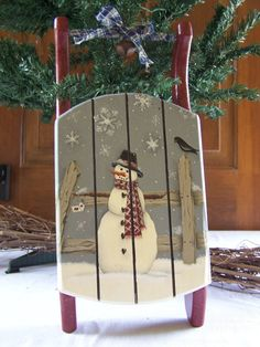 winter decoration christmas decoration hand painted decoration primitive folk art decoration wood mini sled - Wooden Sled Decoration Christmas
