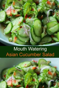 An easy to make Asian Cucumber Salad that's full of crunchy cucumber, rice wine vinegar, and a few secret ingredients. Cucumber Salad Vinegar, Asian Cucumber Salad, Cucumber Dressing, Cucumber Salsa, Cooking For Two, Cooking Tips, Cooking Recipes, Cooking Photos, Meal Recipes