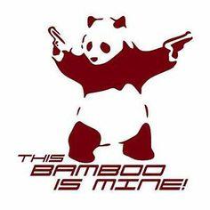 Gun-Toting Panda Bear Protecting his Bamboo! Hard Hats, Panda Bear, Disney Characters, Fictional Characters, Snoopy, Joy, Fancy, In This Moment, Bamboo