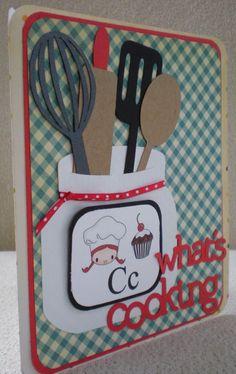 Front cover for recipe album Cafeteria Bulletin Boards, Food Bulletin Boards, Nutrition Bulletin Boards, Scrapbook Recipe Book, Deco Restaurant, Cricut Cards, School Decorations, What To Cook, Recipe Cards